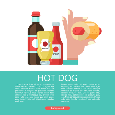 Hot dog. Hand holding a hot dog, sausage in a bun. Hot fast food. Mustard and ketchup bottles. Bottle with carbonated drink. Vector illustration.