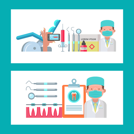 Dental care. A template for the design of flyers and brochures dentistry. With space for text. Set of vector dental instruments. Dentist, dental chair. Hand holding smartphone with mobile dentistry application.