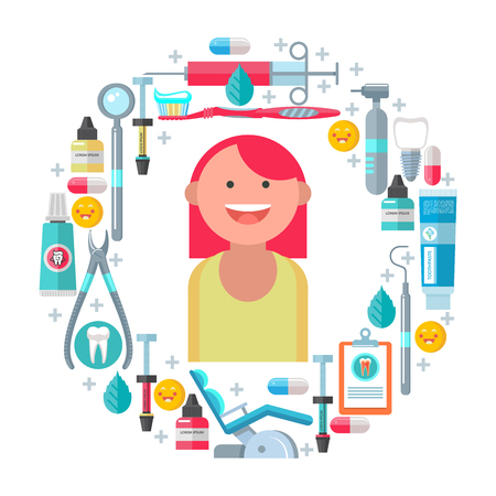 Dental care. Cheerful girl with healthy teeth. A great set of dental tools and accessories oriented in a circle. Vector illustration.