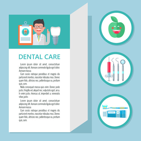 Dental care. Template of a flyer, brochure, dental clinic. Dentist, dental implant. A set of icons dentistry.
