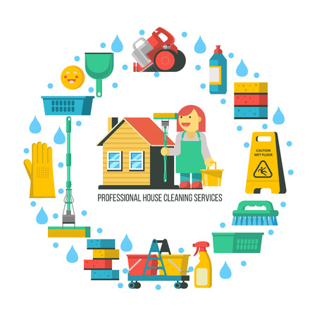 Cleaning service. Cleaning supplies are arranged in a circle. In the center of the professional cleaning lady was standing near the house. Vector illustration.