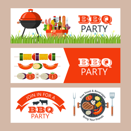 Barbecue party. Colorful invitation with space for text. Vector illustration. Grilled delicious steak, vegetables and sausages. Set of vector BBQ emblems. Set of silhouettes of farm animals, cow, pig. Grilled kebabs, vegetables and sausages.