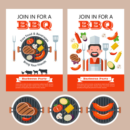 Barbecue party. Colorful invitation with space for text. Vector illustration. Grilled delicious steak, mushrooms, tomatoes, corn, sausages, zucchini and eggplant. Set of vector BBQ emblems. Cute chef. Set of silhouettes of farm animals. Cow, pig, lamb, chicken. Illustration