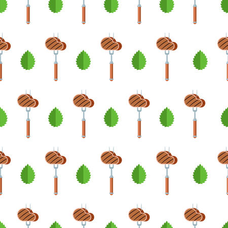 Seamless pattern on white background. Barbecue grill. Steak on a fork and a leaf of Basil. Illustration