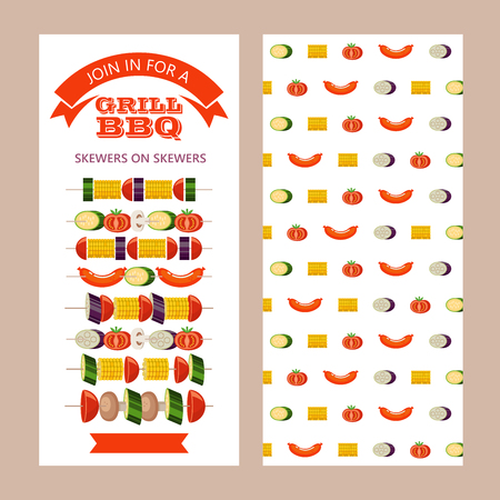 The barbeque grill. Set of kebabs with vegetables. Corn, zucchini, eggplant, mushrooms, tomatoes. Kebab with sausages and zucchini. Vector illustration. Flyer barbecue party. The reverse side of the flyer with a pattern of sausages and vegetables.