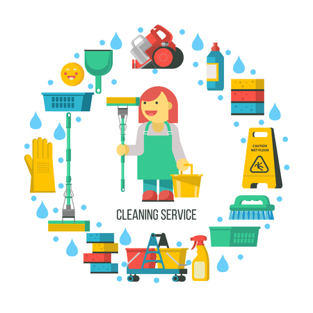 Cleaning service. Cleaning supplies are arranged in a circle. In the center of a professional cleaner. Vector illustration. Vettoriali