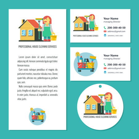 Cleaning service. A set of vector symbols. Professional cleaning lady with cleaning supplies. Cleaning icons set. Flyer template, business cards for cleaning service.