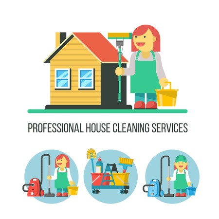 Cleaning service. A set of vector symbols. Professional cleaning lady with a MOP in his hand standing near the house. Cleaning icons set.