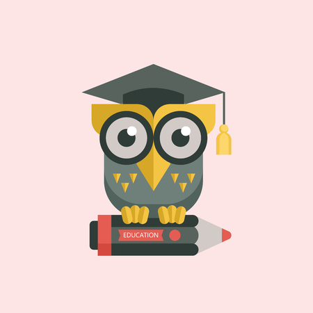 Welcome back to school. A wise owl in an academic cap holds a pencil in its paws. Vector emblem, logo.