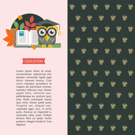 Welcome back to school. A wise owl in an academic cap holds a ruler in its paws. Next to the open book and autumn leaves. Vector emblem, logo. Illustration, flyer template with space for text. Background for the back of the flyer.