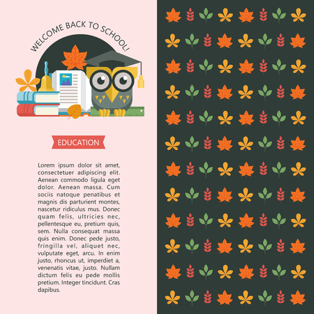 Welcome back to school. A wise owl in an academic cap holds a ruler in its paws. Next to the open book, a stack of books and a school bell. Vector emblem, logo. Illustration, flyer template with space for text. Background for the back of the flyer with autumn leaves.
