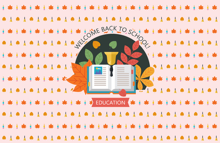 Vector logo with open book, school bell and autumn leaves. Welcome back to school. Press wall for a photo shoot. Vector emblem of education.