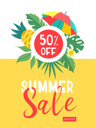 Summer sale. Bright colorful advertising poster. Colorful umbrella, tropical leaves and pineapples. Discount 50 percentage on everything. Illustration in cartoon style. 일러스트