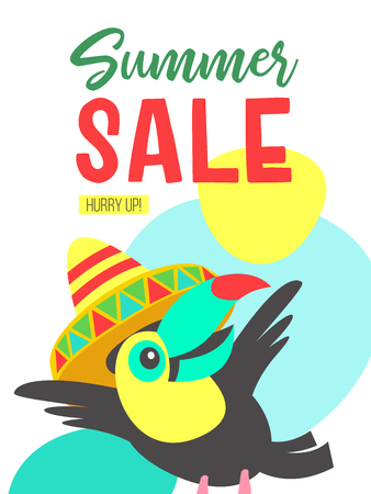 Summer sale. Bright colorful advertising poster. Cheerful Toucan in a colorful Mexican hat. Illustration in cartoon style.