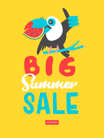 Big summer sale. Bright colorful advertising poster. Cheerful Toucan in a bright Mexican hat holding a watermelon. Illustration in cartoon style.