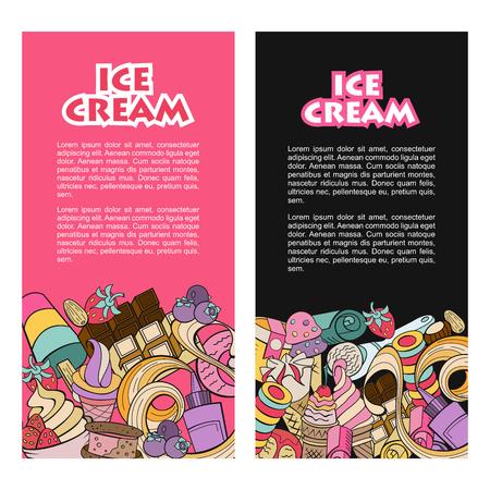 Hand gezeichnetes Eis. Sonstiges Eis mit Belag, Nüssen, Beeren, Schokolade und Keksen. Vector Doodle Illustration.