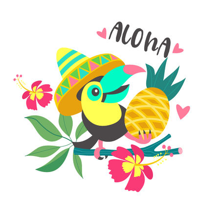 Aloha. A cheerful colorful Toucan in a Mexican hat sits on a tree branch and holds a pineapple in its paw. Bright summer illustration. Vettoriali