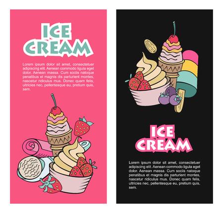 Hand gezeichnetes Eis. Sonstiges Eis mit Belag, Nüssen, Beeren, Schokolade und Keksen. Vector Doodle Illustration. Vektorgrafik