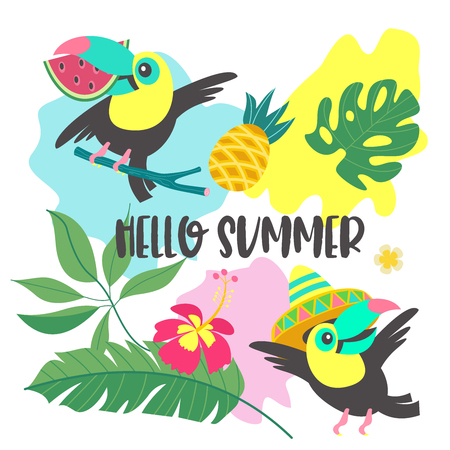 Hello, summer. Funny toucans. Toucan in a Mexican hat. Toucan with a slice of watermelon in its beak. Tropical leaves, flowers and pineapples. Bright summer illustration. A set of elements to design your own illustration on a summer tropical theme.