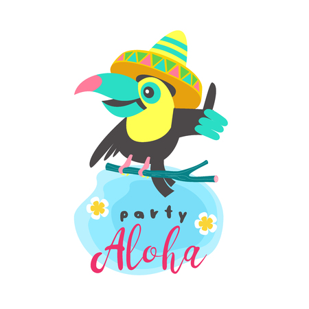 Tropical party. Aloha. A cheerful Toucan in a Mexican hat sits on a branch and shows a finger up. Toucan's inviting you to a party. Bright summer vector illustration.