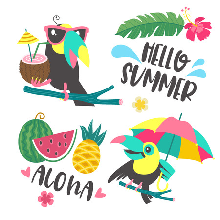 Aloha. Hello summer. Funny Toucan in sunglasses holds a coconut cocktail. Another Toucan sits on a tree branch with a bright umbrella. Tropical leaves, flowers and fruit. Set of elements for the design of a bright summer tropical illustration.