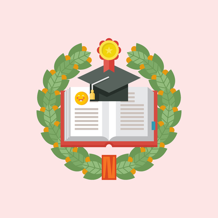Education logo. Emblem of educational institution, school, College. Vector template. Laurel wreath. An open book and an academic cap framed by a Laurel wreath.