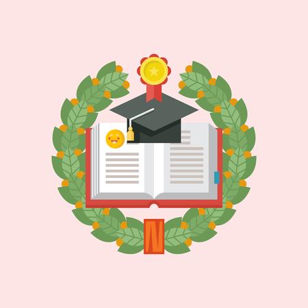 Logotipo de educación. Emblema de institución educativa, escuela, colegio. Plantilla de vector. Corona de laurel. Un libro abierto y una gorra académica enmarcada por una corona de Laurel.