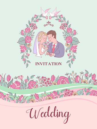 Wedding invitation. Happy weddings. Beautiful wedding card with bride and groom exchanging wedding rings.Vector illustration with space for text decorated with delicate wedding flowers.