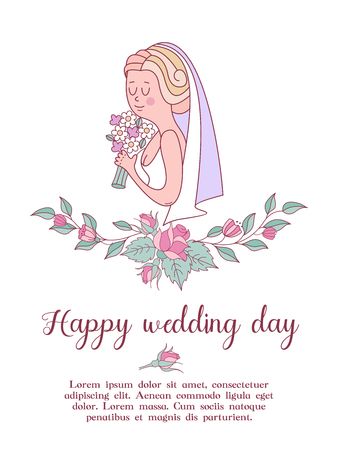 Wedding invitation. Happy weddings. Beautiful wedding card with a wreath of delicate wedding flowers and a beautiful bride with a bouquet in her hand. Vector illustration with space for text.