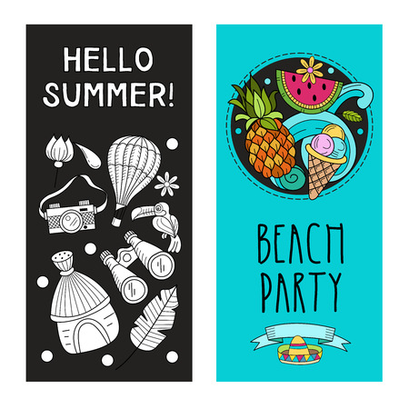 Cartoon hand drawn Doodle summer holiday poster design template. Very detailed, with lots of individual elements. All elements are isolated.