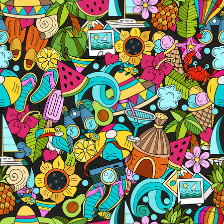 Seamless pattern. Cartoon hand drawn Doodle summer holiday poster design template. Very detailed, with lots of individual elements. All elements are isolated.