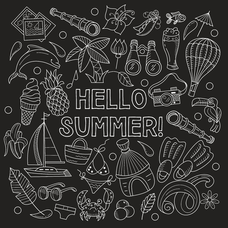 Cartoon hand drawn Doodle summer holiday poster design template. Painted in chalk on a black background. Very detailed, with lots of individual elements. All elements are isolated.