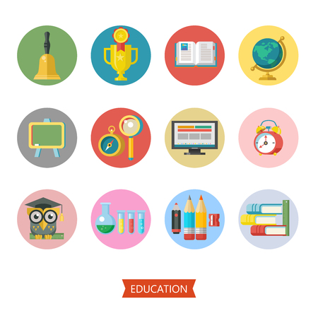 Welcome back to school. Set of vector icons with school supplies. Isolated on white background. Illustration