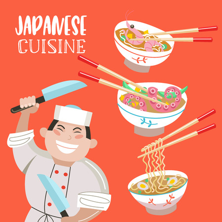 Japanese cuisine. Japanese soups. Noodles, seafood, shrimp, octopus. Japanese chef with a large cooking knife. Vector illustration in cartoon style.