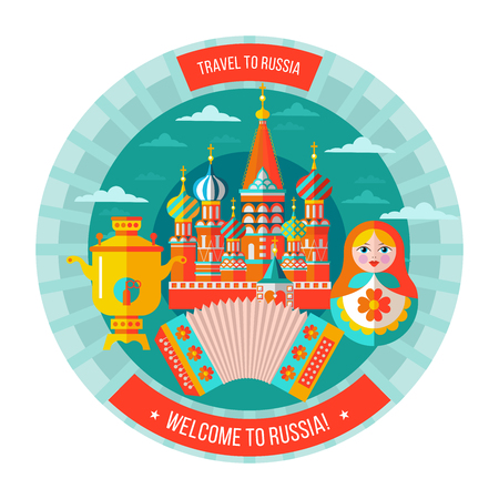 National traditional Russian doll matryoshka. Vector illustration. St. Basils Cathedral, the Kremlin. Samovar and accordion. travel to Russia. Welcome to Russia. Vector logo isolated on white background