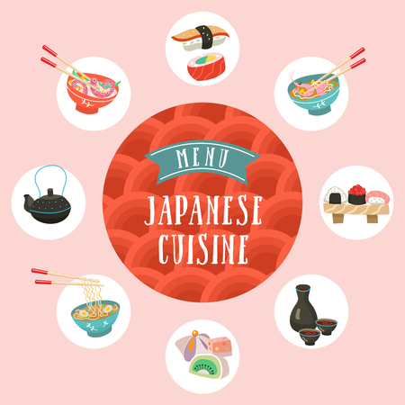Japanese cuisine. A set of traditional Japanese dishes. Vector illustration in cartoon style. Colorful menu template of Japanese cuisine cafe. Иллюстрация