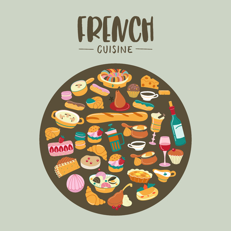 Traditional French cuisine. Large set of vector cliparts in cartoon style oriented in a circle. Soups, desserts, bread, wine.