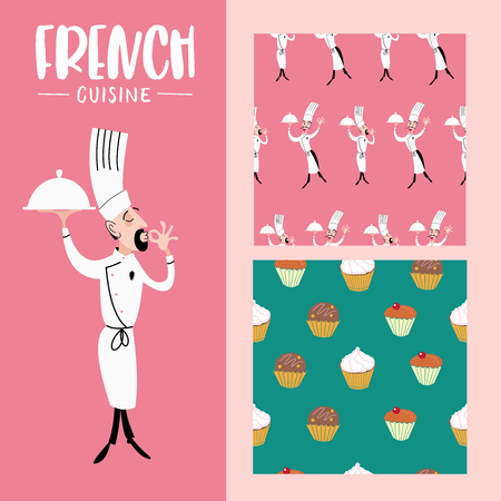 Funny chef with dish in hand. Seamless pattern on pink background. Seamless pattern on green background, cream cakes.