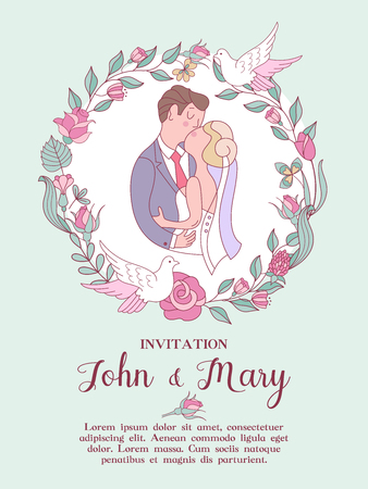 Wedding invitation. Beautiful wedding card with kissing bride and groom in a wreath of wedding flowers and white doves. Vector illustration with space for text.
