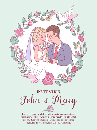 Wedding invitation. Beautiful wedding card. The bride and groom exchange wedding rings. A wreath of pink wedding flowers and white pigeons. Vector illustration with space for text. Vettoriali