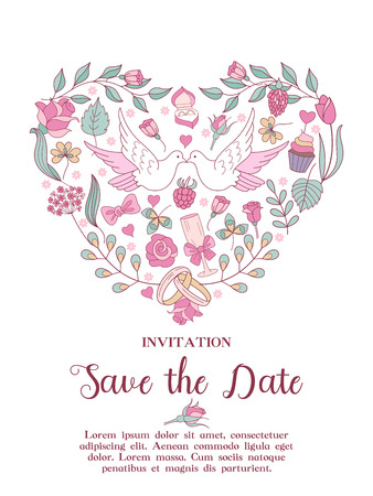 Wedding invitation. Beautiful wedding card. Delicate pink wedding flowers, a glass of champagne and white doves. All design elements are assembled in the shape of a heart. Vector illustration with space for text. Vettoriali