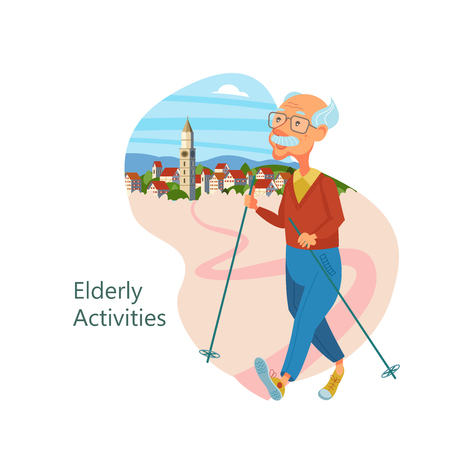 An elderly man engaged in Nordic walking. Grandfather leads a healthy lifestyle. She goes in for sports and Hiking. Vector illustration.