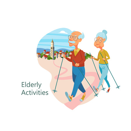 Older people are engaged in Nordic walking. Grandfather and grandmother lead a healthy lifestyle. He is engaged in sports and Hiking. Vector illustration.