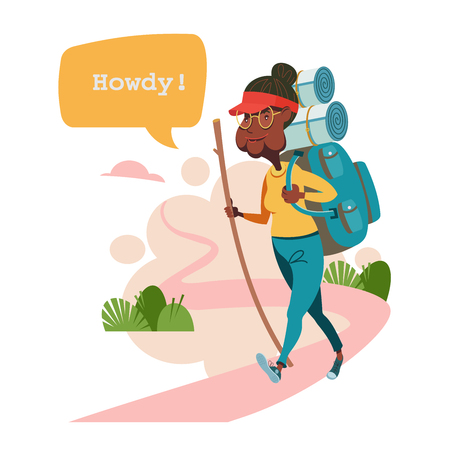 An elderly woman with a backpack walking for a walk.  Grandmother leads a healthy lifestyle. She goes in for sports and Hiking. Vector illustration. Illustration