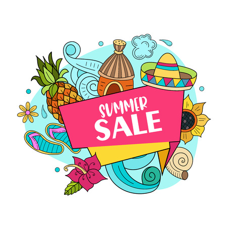 Summer sale. Vector illustration of hand drawn doodles. Bungalows in a tropical Paradise, accessories for relaxing at the resort.