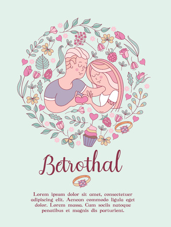 The invitation to the engagement party. Charming vector illustration. Couple in love in a beautiful flower frame of roses, leaves, berries. They show how much they love each other. Çizim