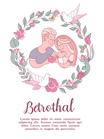 The invitation to the engagement party. Charming vector illustration. Loving couple. They show how much they love each other. Beautiful flower wreath of roses. White dove. Romantic card. Çizim