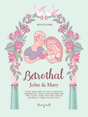 The invitation to the engagement party. Charming vector illustration. Loving couple. They show how much they love each other. Beautiful flower wreath of roses. White dove. Romantic card. Stok Fotoğraf - 114677278