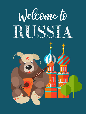 Russian bear in a fur hat playing the balalaika on the background of the Kremlin. symbol of Russia. Welcome to Russia. Vector illustration.