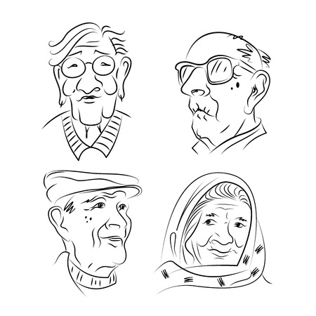 A set of portraits of elderly people. Older women and older men. Hand drawn. Sketch. Black and white graphics.